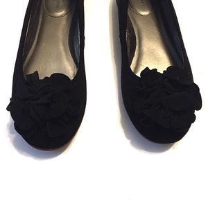 Lands' End Shoes - Lands' End Black Suede Flats with Flower Accent